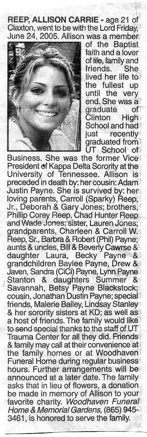 Allison's Obituary