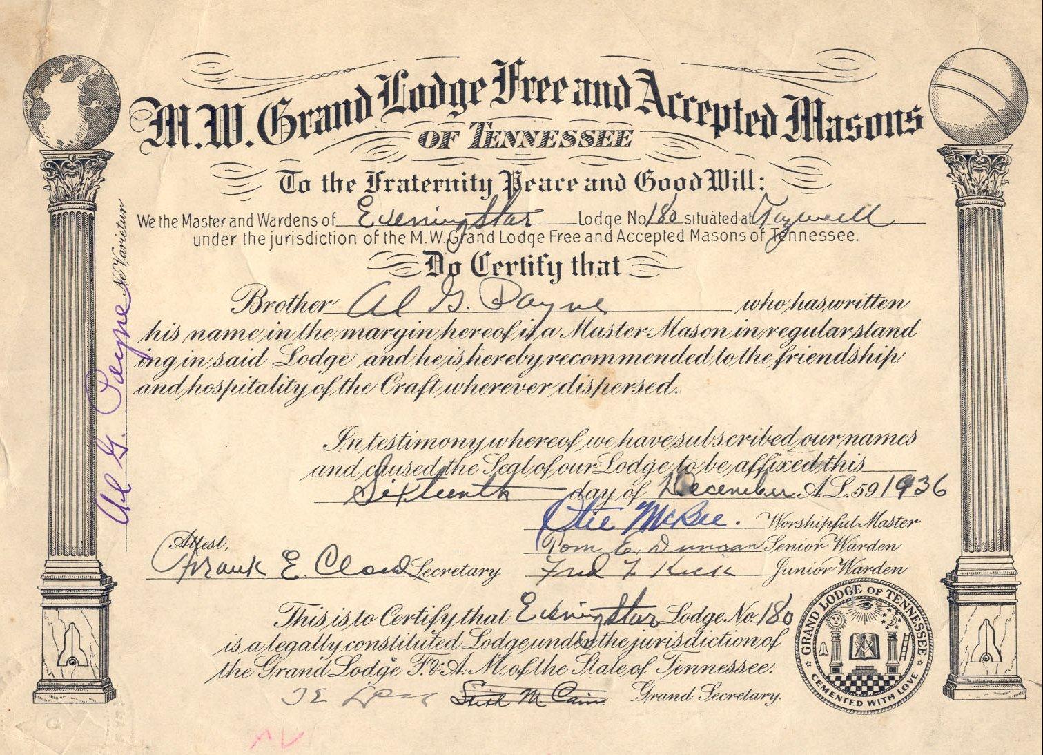 free masonic certificate templates freemason master mason certificate