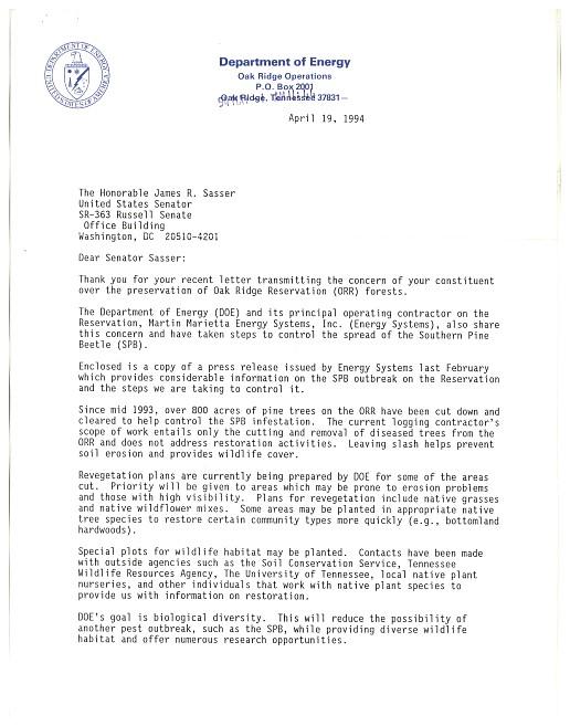 Letters from Senator Jim Sasser